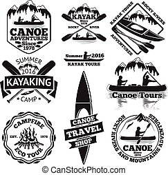 canoa, remo, giri, falò, labels., vettore, kayaking, uomo, shop., barche, due, foresta, set, viaggiare, kayak, montagne, barca