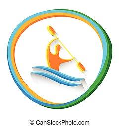 canoa, slalom, atleta, deporte, competición, icono
