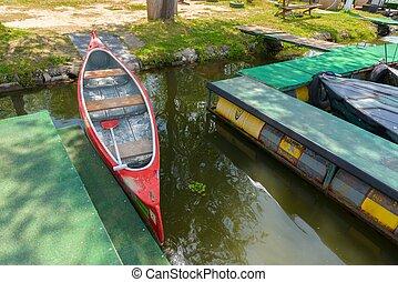 canoa, su, uno, lago
