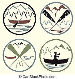 canoa, vendemmia, etichette, set, campeggiare