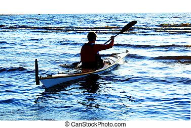 canoa, wawes, contra, uno, mar, hombre