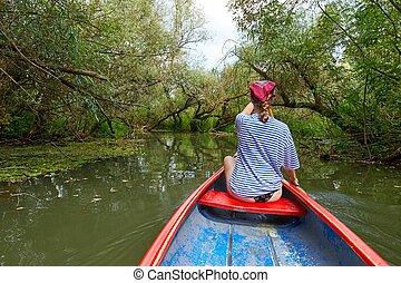 canoagem, ligado, um, lago