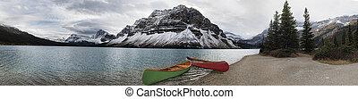 Canoe adventure on Bow Lake