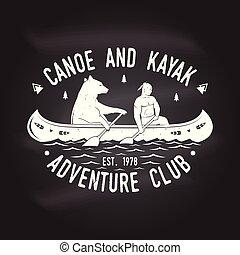Canoe and Kayak club. Vector illustration.