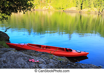 Canoe at the lake