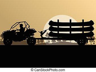 Canoe boat trailer vector