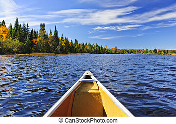 Canoe bow on lake - Bow of canoe on Lake of Two Rivers,...