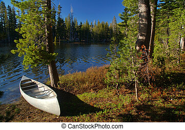 canoe by the river - canoe by a river in the mountains