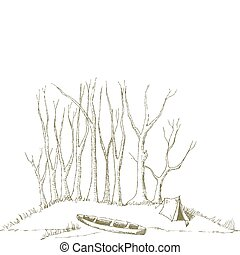 Canoe camp - Pen and ink style illustration of a canoe...
