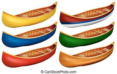 Canoe - Wooden canoe in six colors