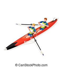 Canoe Coxless Pair 2016 Sports 3D Vector Illustration -...