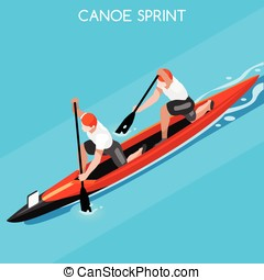 Canoe Double 2016 Summer Games Isometric 3D Vector...
