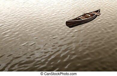 Canoe floating on water