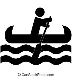 Canoe - Icon illustration showing a man rowing a canoe