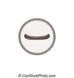 Canoe icon patch and sticker. Vintage hand drawn outdoor adventure design. Kayak symbol. Camping icon. Stock vector isolated on white background