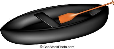 Canoe in black design with paddle