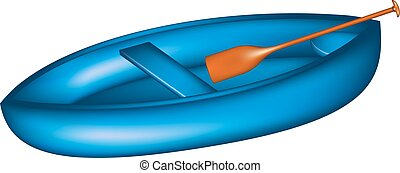 Canoe in blue design with paddle