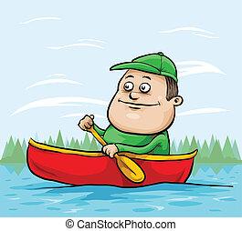 Canoe Man - A cartoon man paddling in a canoe.
