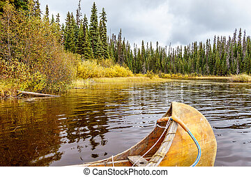 Canoe Moored in McGillivray Lake