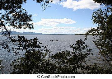 Canoe on lake in Maine