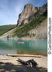 Canoe on the Moraine Lake