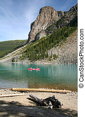 Canoe on the Moraine Lake