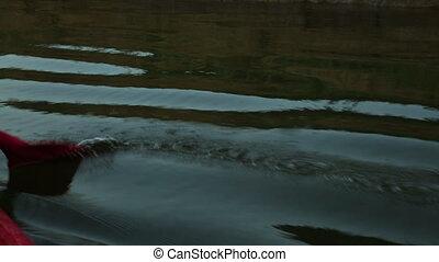 Canoe Paddling Along A River Bank, Qld - Extreme close up...