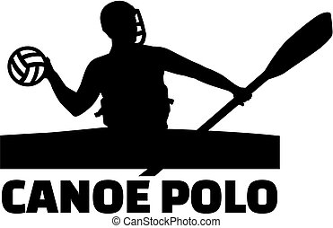 Canoe polo player with word