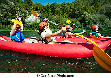 Canoe rafting river