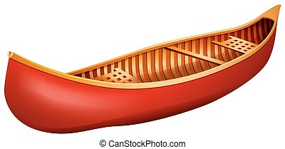 Canoe - Red canoe made of wood