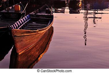 Canoe Reflection at Sunrise - Traditional Old Wooden Canoe...
