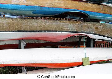 canoe resting on lake