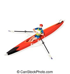Canoe Rowing Single 2016 Sports 3D Vector Illustration -...