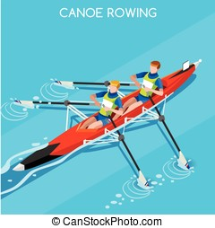 Canoe Rowing Summer Games Isometric 3D Vector Illustration -...