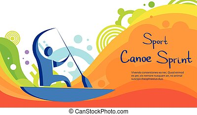 Canoe Sprint Athlete Sport Competition Colorful Banner Flat...