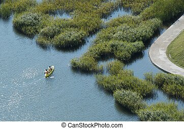 canoe - two men sailing in a canoe on a lake with vegetation