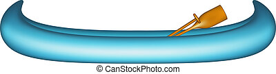 Canoe with paddle - Canoe in blue design with paddle on...