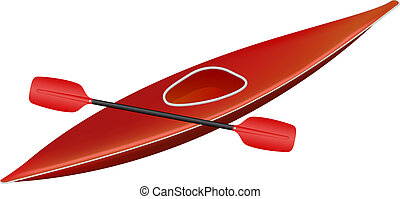 Canoe with paddle