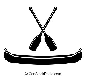 kayak or canoe with paddle in vector illustration vectors