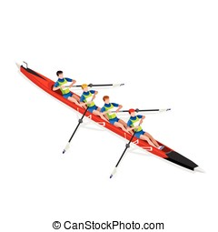 Canoe Without Coxswain Four 2016 Sports 3D Vector...