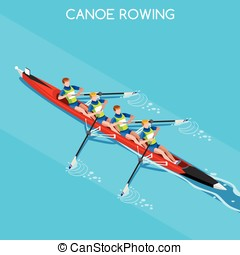 Canoe Without Coxswain Four 2016 Summer Games 3D Vector...
