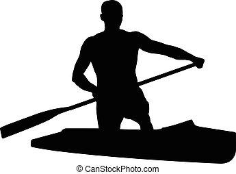 canoeing athlete sports canoe - black silhouette canoeing...