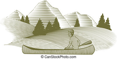 Canoeing - Woodcut style illustration of a man canoeing with...