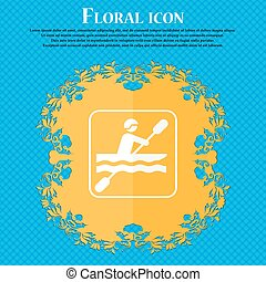canoeing icon. Floral flat design on a blue abstract background with place for your text. Vector