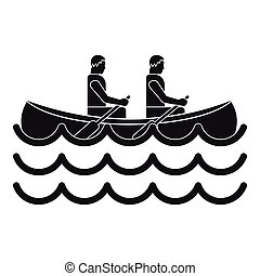 Canoeing icon, simple style - Canoeing icon. Simple...