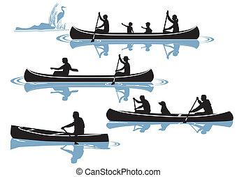 canoeing isolated on white