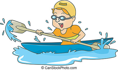 Canoeing Man - Illustration of a Man Paddiling in a Canoe
