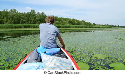Canoeing on a beautiful lake
