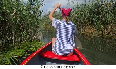 Canoeing on a lake - Canoeing in beautiful natural...