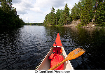 Canoeing - on a quiet lake
